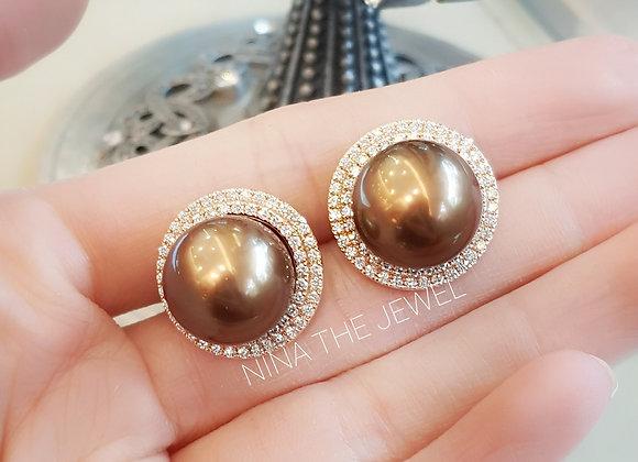13mm Chocolate Southsea Pearl Earrings