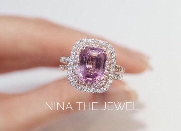 Unheated 3.66ct Ceylon Pink Sapphire Ring