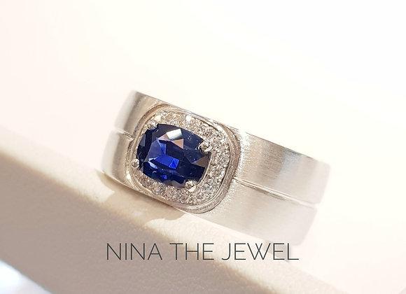Bespoke Ceylon Blue Sapphire Men Ring