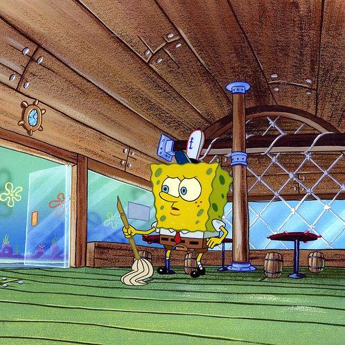 SpongeBob sweeping up in the Krusty Krab 1999SpongeBob production cel