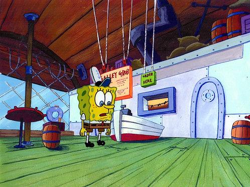 SpongeBob Production cel on a print background