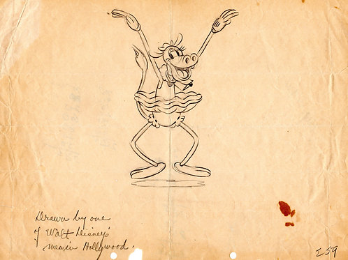 Walt Disney's ORPHANS BENEFIT production drawing1934 featuring Clarabelle
