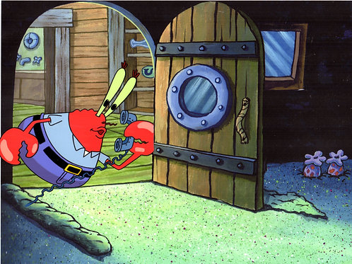 Krabs production cel on a print of his home in Bikini Bottom