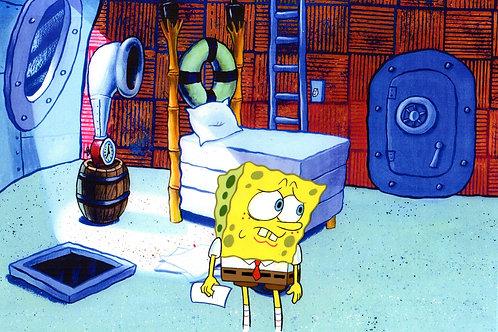SpongeBob Production cel on a print background THE PAPER