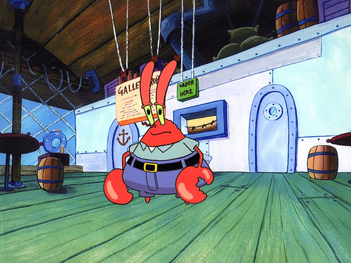 The perfect portrait of Krabs in his Restaurant.