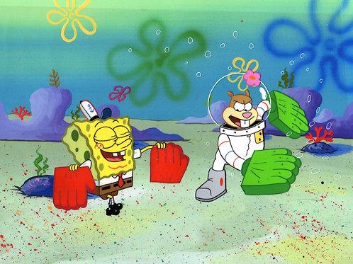 Karate Choppers!!!  2 SpongeBob SquarePants Production cels.