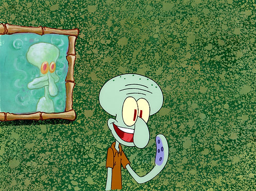 Original Production Setup of Squidward with Painting