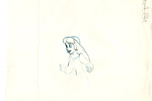 Walt Disney's BLACK CAULDRON 1985 production drawing of Eilonwy