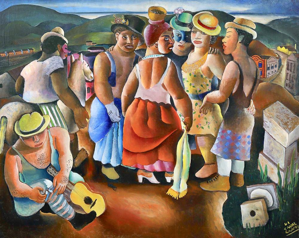 circa 1935   Huile sur toile. Signée en bas à droite Di Cavalcanti. Dim. : 128 x 154 cm.