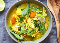 CHICKEN, GINGER & TURMERIC SOUP WITH RIC