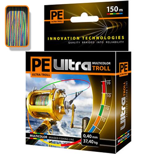 Плетеный шнур PE ULTRA TROLL MULTICOLOR 0,40mm 150m, цвет мультиколор