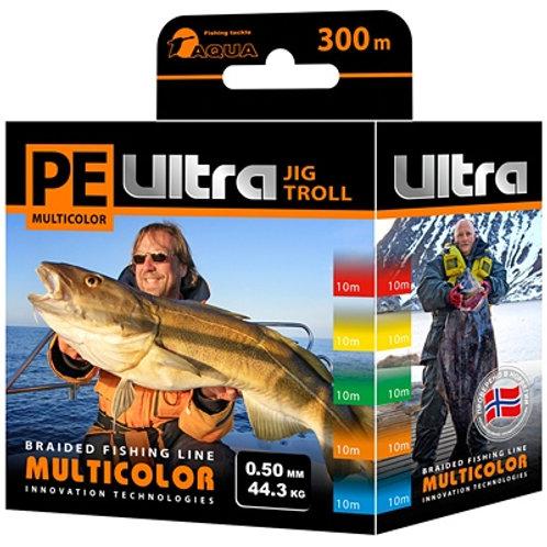 Плетеный шнур PE ULTRA MULTICOLOR JIG TROLL 0,5mm 300m, цвет мультиколор