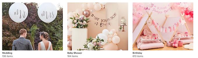 party supplies, birthday, baby shower, wedding