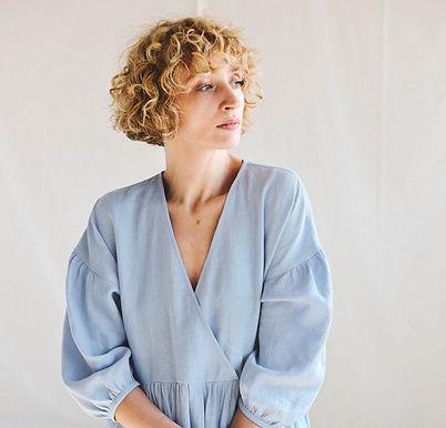 Linen wrap blouse