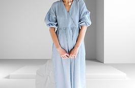 V neck puffy sleeve dress