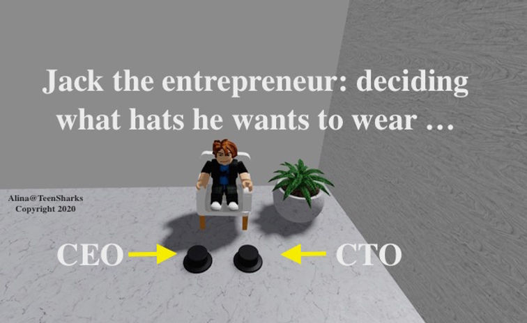 Jack the Entrepreneur trying to pick hat