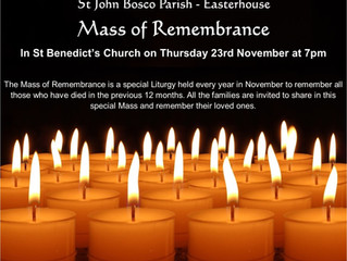MASS FOR THOSE WHO HAVE DIED IN THE PARISH IN THE LAST YEAR