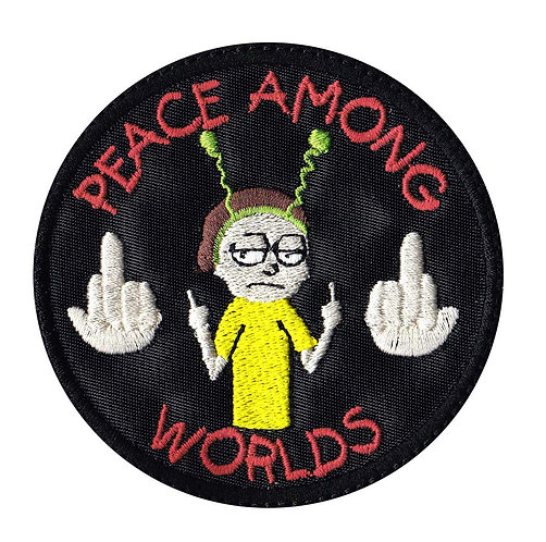 Peace Among Worlds Middle Finger Rick & Morty - Glue Back To Sew On