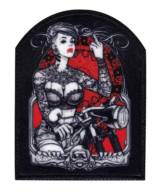 Sexy Tattoo Girl Biker Finger Motorcycle - Velcro Back