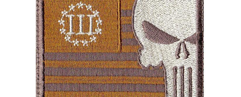 3 Percent Skull Us Flag Copper - Velcro Back