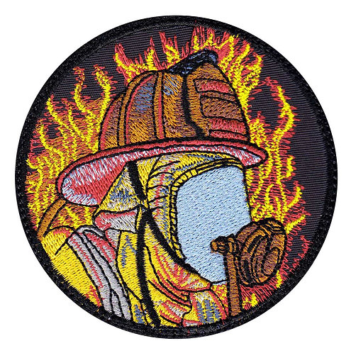 Firefighter With Mask In Flames - Glue Back To Sew On