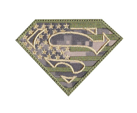 Superman US Flag Camo Military - Velcro Back