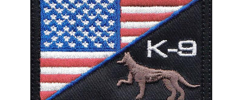 US Half Flag K-9 Unit German Sheppard - Velcro Back
