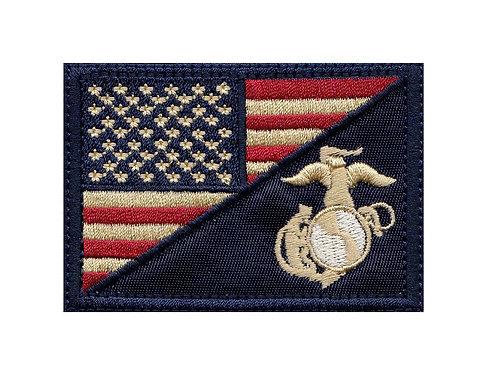 Marine Eagle Globe Anchor Us Flag - Velcro Back