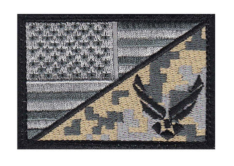 Air Force Half US Flag - Velcro Back