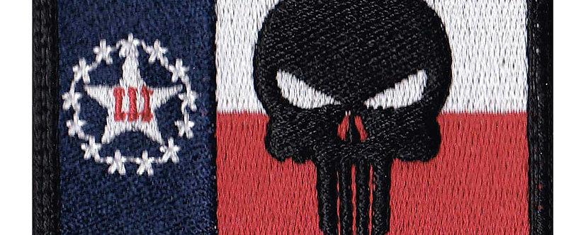 Texas 3 Percent Stars Punisher Skull Flag - Velcro Back