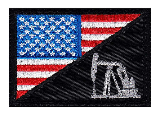 Oil Field Pump US Half Flag - Velcro Back