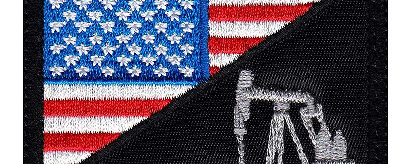 Oil Field Pump US Half Flag - Velcro Back