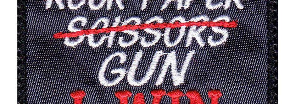 Rock Paper Scissors Gun I Win - Velcro Back