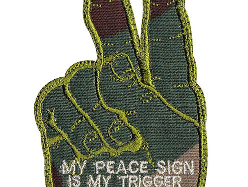 Peace Sign Trigger And Middle Finger Hand - Velcro Back