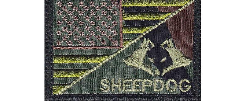 Sheepdog Wolf Police Line Us Half Flag - Velcro Back