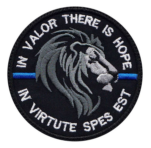 Lion Police Line In Valor There Is Honor Latin - Glue Back To Sew On