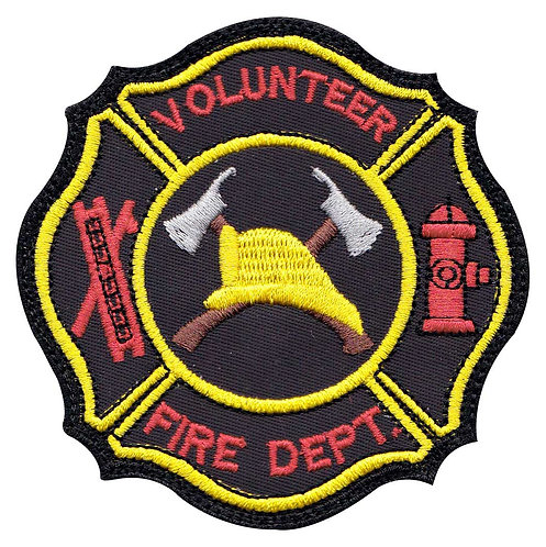 Firefighter Volunteer Hook Ladder Badge - Glue Back To Sew On