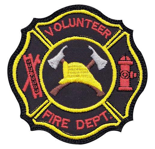 Firefighter Volunteer Hook Ladder Badge - Glue Back To Sew On