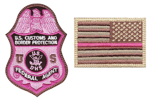 CBP Federal Agent Badge Reverse Flag Breast Cancer - Velcro Back