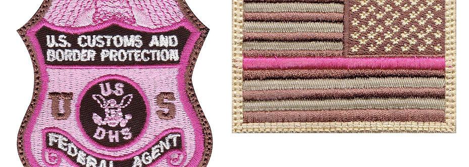 CBP Federal Agent Badge Reverse Flag Breast Cancer - Velcro Back