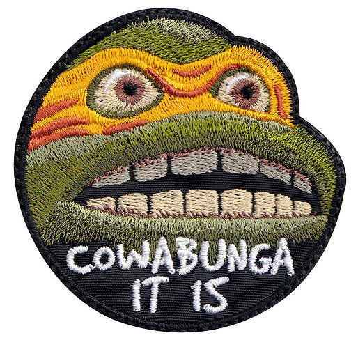 Cowabunga It Is Meme Funny Turtle Michealangelo Ninja - Glue Back To Sew On