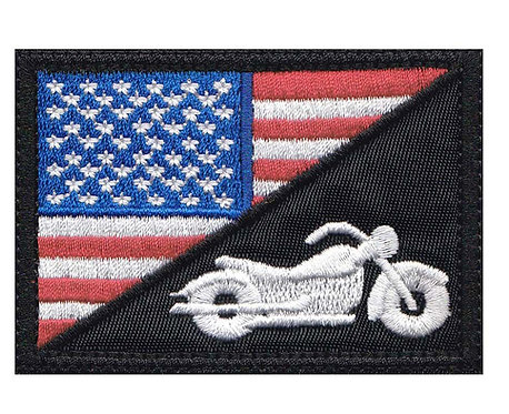 Us Half Flag Motorcycle Biker Rider Bike - Glue Back To Sew On