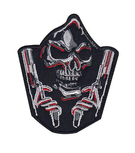 Grim Reaper Double Guns Patch - Glue Back To Sew On