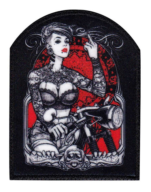 Sexy Tattoo Girl Biker Finger Motorcycle - Glue Back To Sew On