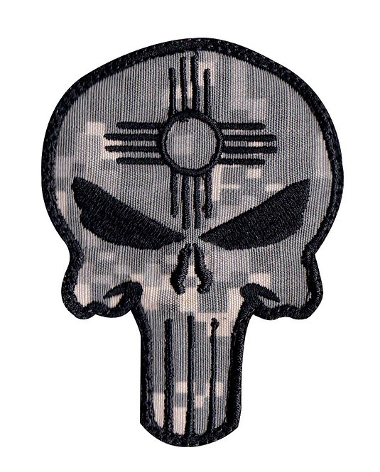 Punisher Skull New Mexico Zia Symbol - Velcro Back
