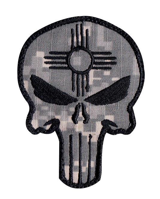 Punisher Skull New Mexico Zia Symbol - Velcro Back