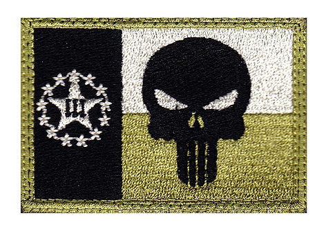 Texas 3 Percent Stars Punisher Skull Flag - Velcro Back