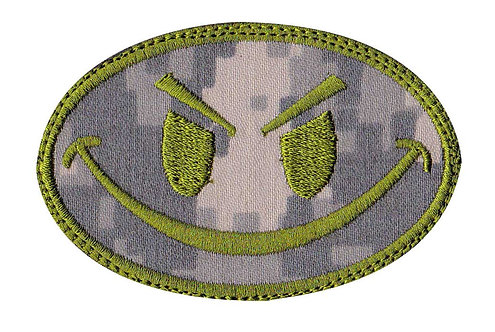 Smiley Face Non-Glow In The Dark - Non Glow - Velcro Back