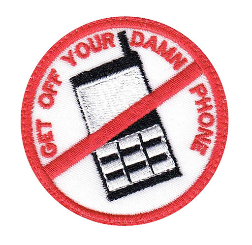 Get Off Your Damn Phone Funny Biker Anti-Phone Driving - Velcro Back