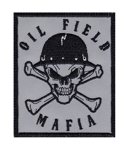 Oil Field Mafia Skull & Cross Bones Oil Rig Roughneck - Glue Back To Sew On